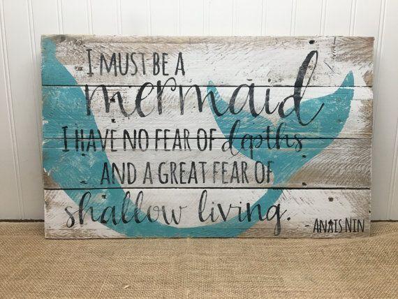Reclaimed Wood Art Mermaid Ocean Beach Farmhouse Rustic Pallet Sign