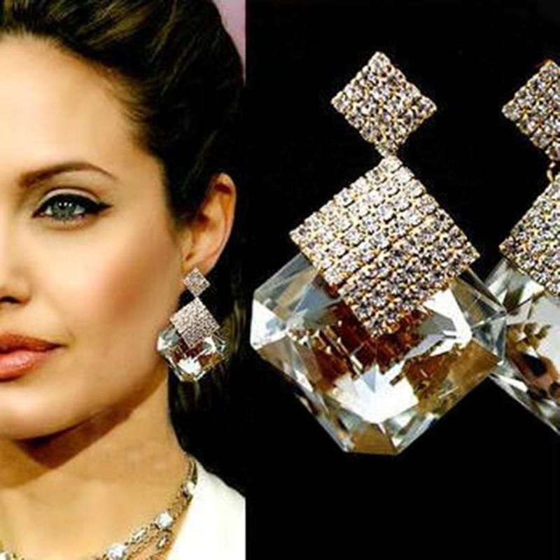 Geometric Triangle Crystal Chromophous Sparkling Earring For Women Girl Jewelry