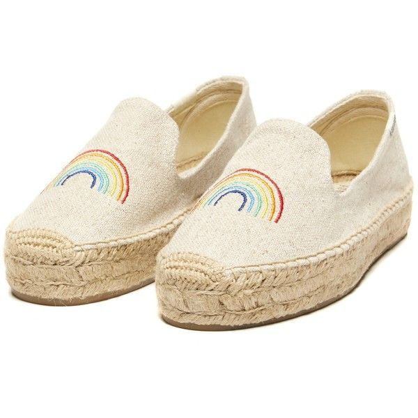 577dbfbd4ff Soludos ASHKAHN X Rainbow Embroidered Platform Smoking Slipper in Sand...  (4.210 RUB) ❤ liked on Polyvore featuring shoes and slippers