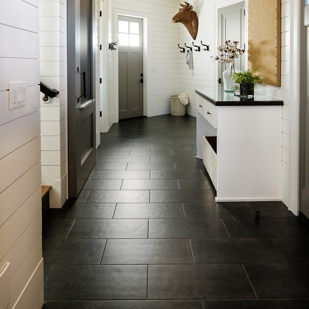Floor is Cast porcelain rectangle field tile 12\