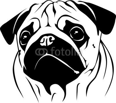 Pug Silhouette Portrait Pug 02 From Dogarts Royalty Free Vector