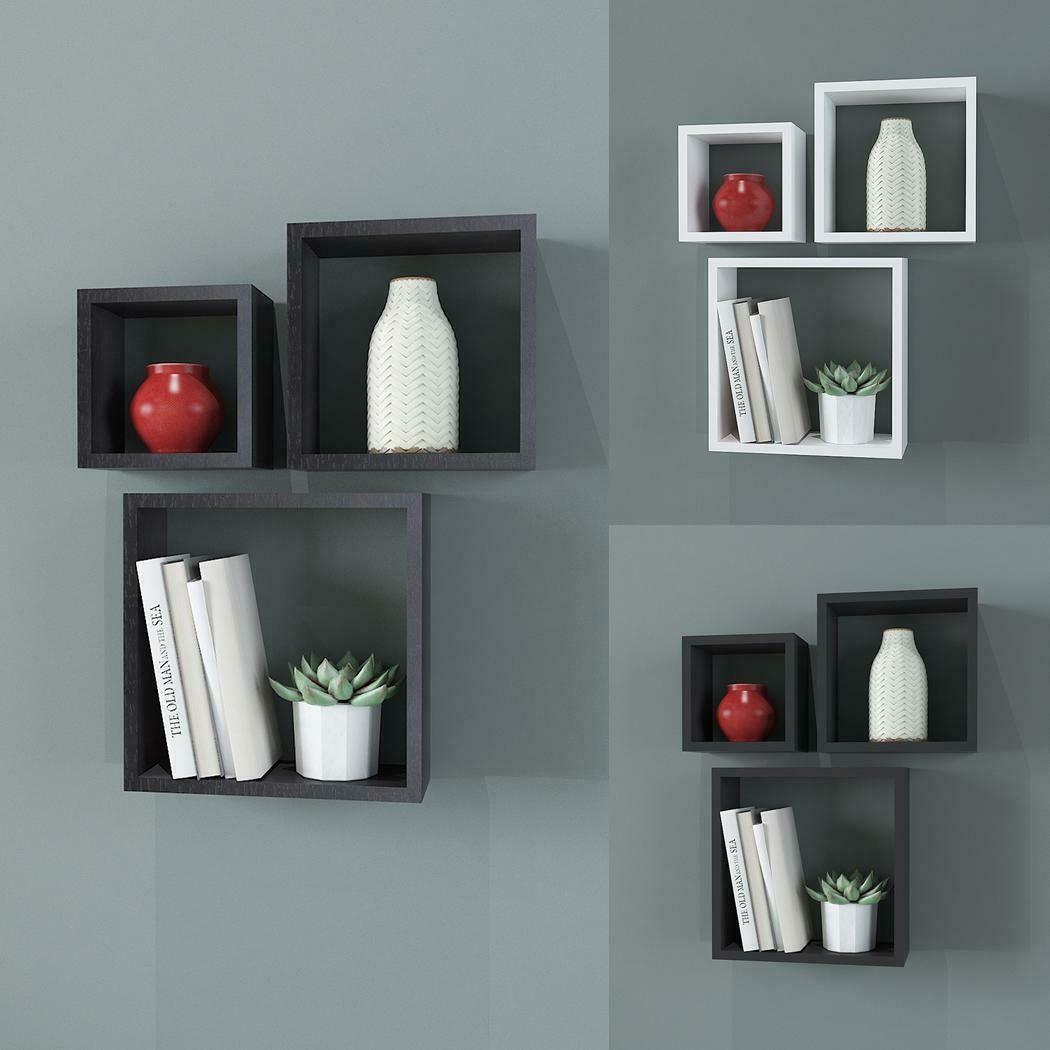3pc Wall Cube Display Shelf Set Square Decorative Floating Shelves