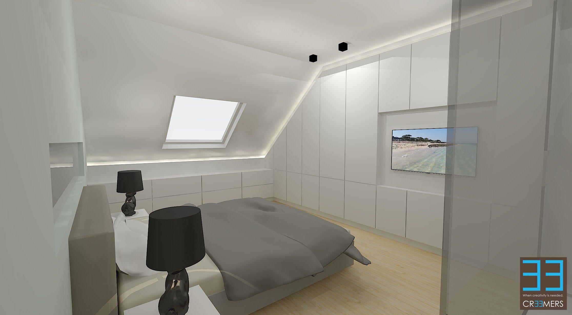 Slaapkamer met maatkasten en ingewerkte tv. indirecte verlichting