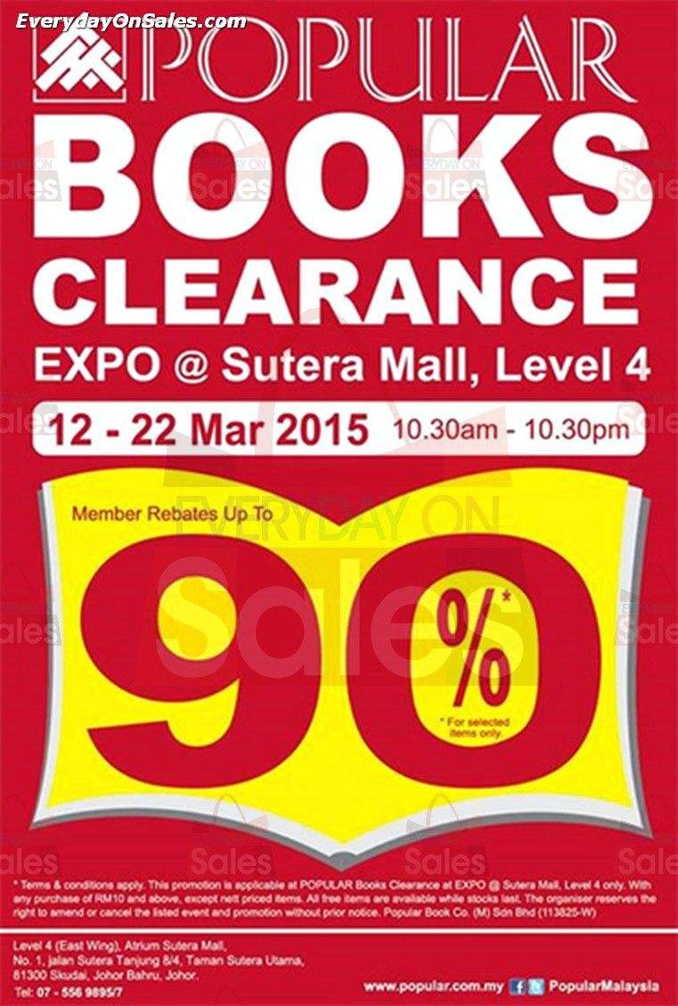 a91f634353e 12-22 Mar 2015  Popular Bookstores Warehouse Sale for Books Expo Clearance  at Sutera Mall