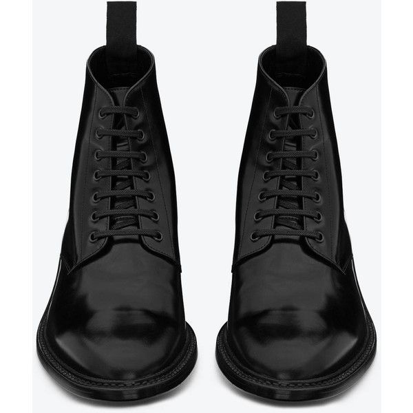 36bddd3213e Signature Saint Laurent Army Lace Up Boot In Black Leather ($970) ❤ liked  on Polyvore