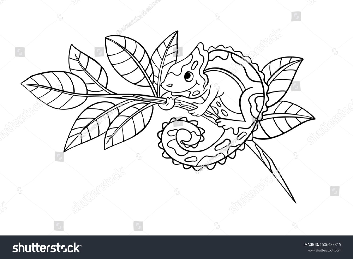 Vector coloring page with cute chameleon sitting on a