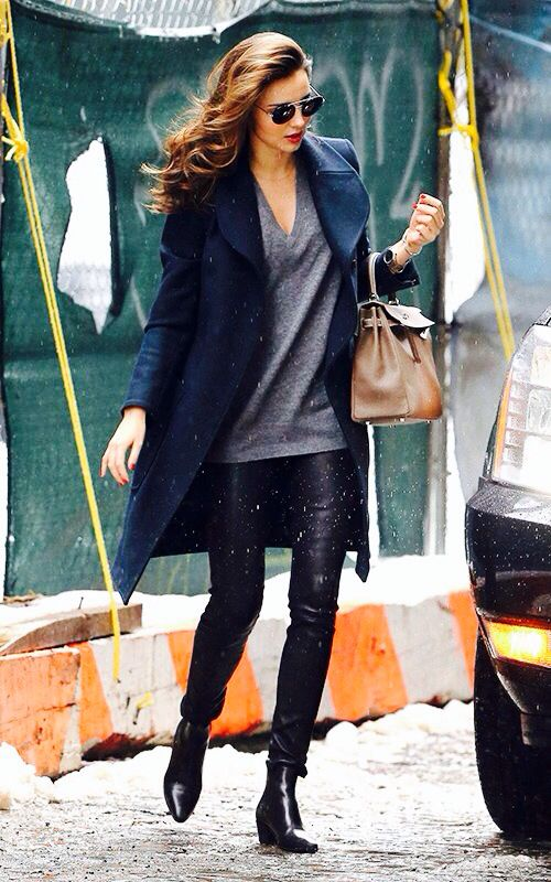 Miranda Kerr + Wool Coat + Leather Pants + Grey Tee + Black Booties