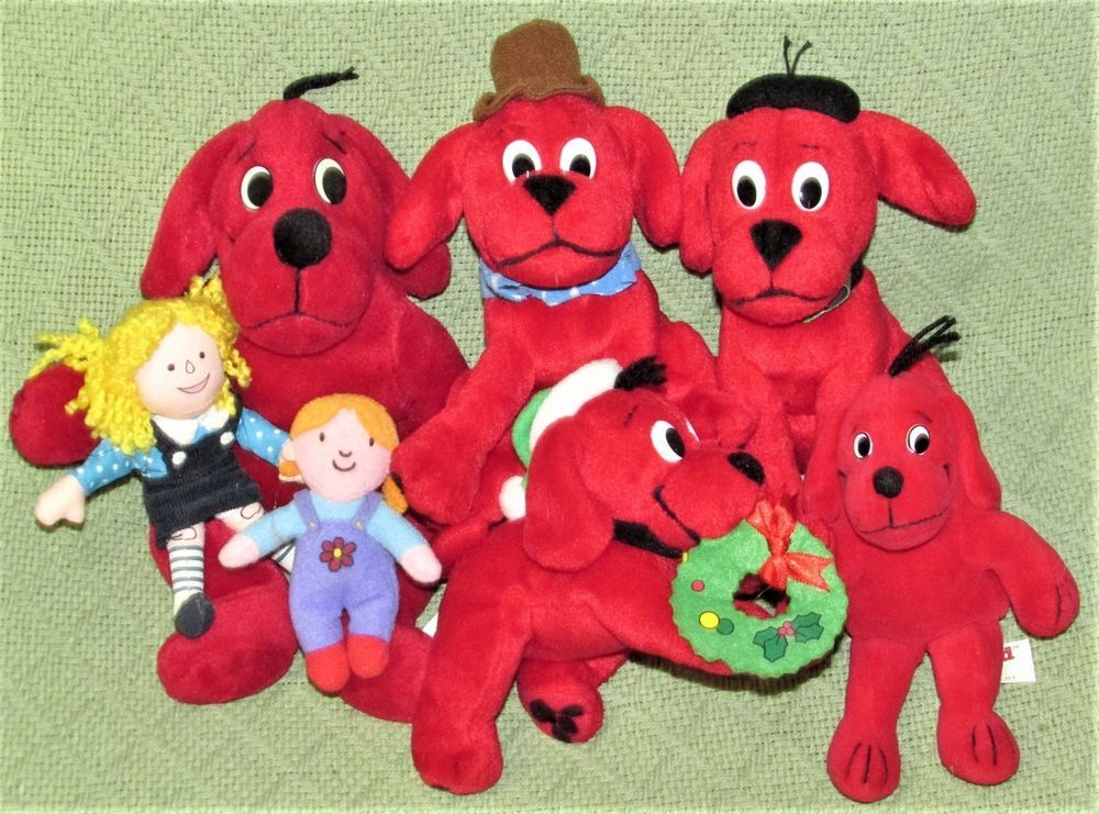 Clifford The Big Red Dog Scholastic Bean Bag Plush Lot With Emily