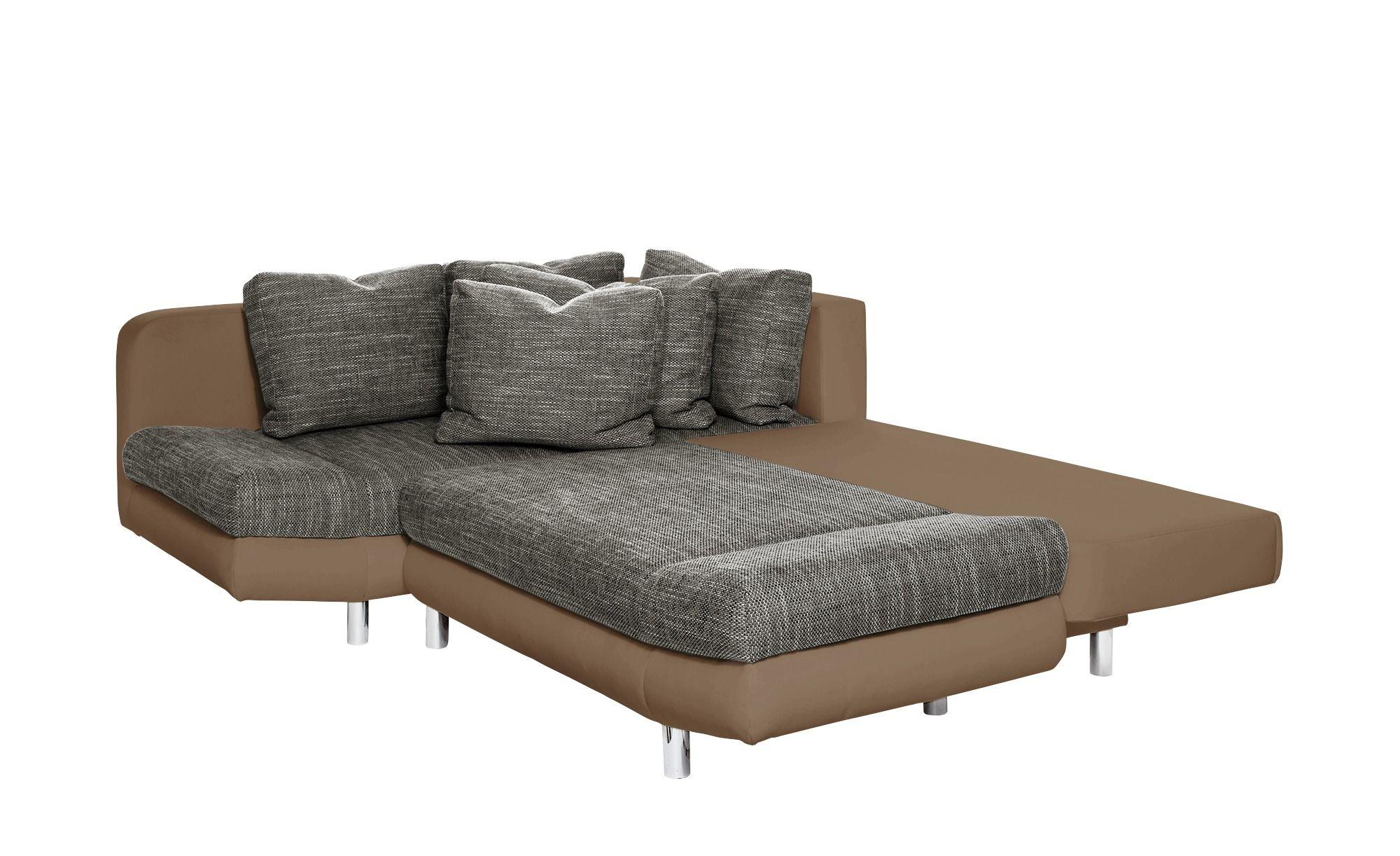 Smart Eckcouch Mit Schlaffunktion Braun Grau Kunstleder Webstoff Mila Ecksofa Graues Sofa Und Sofa