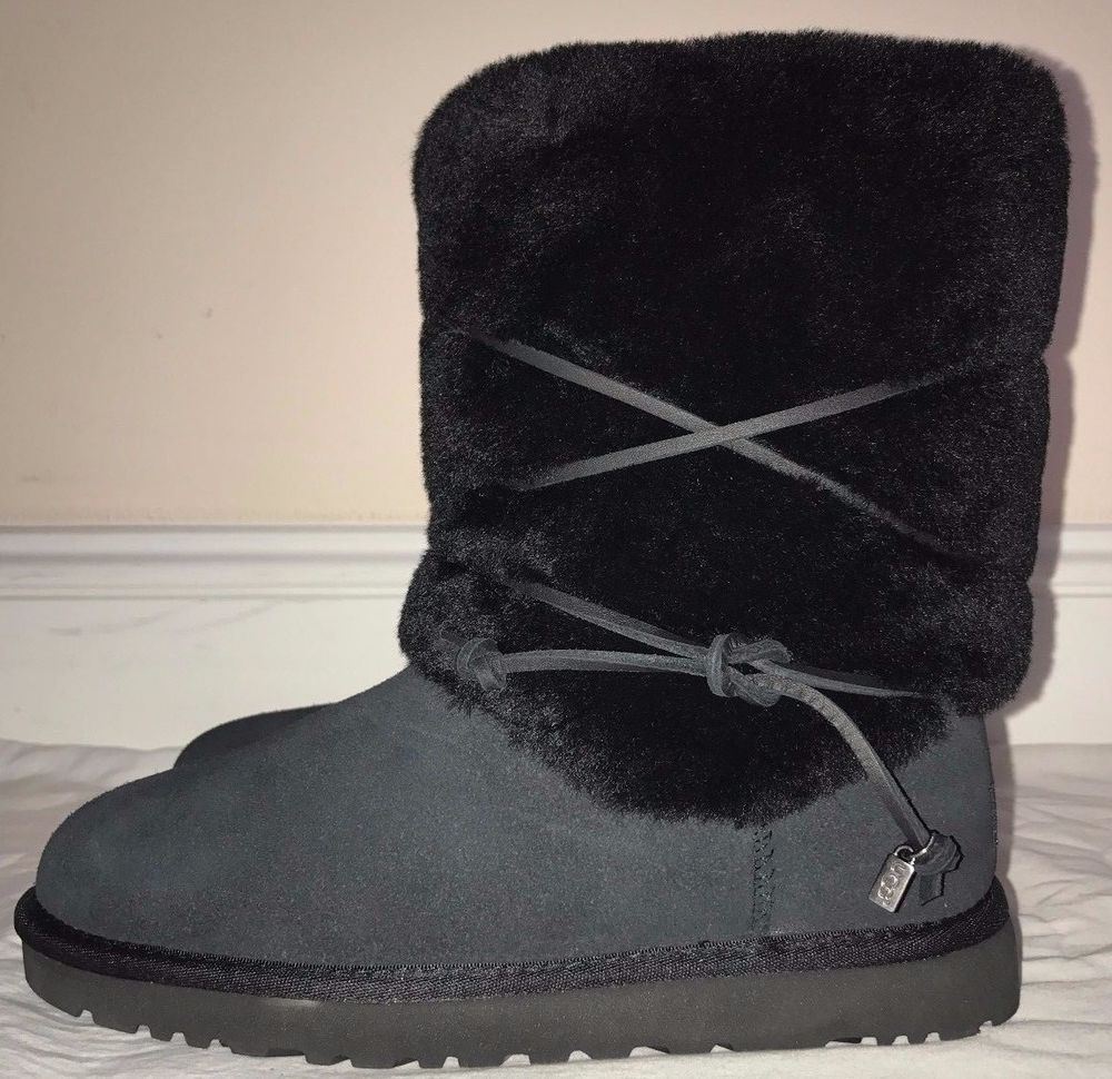 Womens Ugg Australia Black Suede And Wool Alaia Boots Size 7