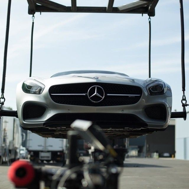 "For the ""airborne"" shot, we obviously weren't going to send a real Mercedes-AMG flying four feet off the ground. Instead, we used a special crane to hoist the chassis up into the air, then shot it with a motion-control camera to mimic the car in flight. The spinning wheels, dust and leaves were visual effects added in post.  #MBPhotoPass: @Strombergtherevr  #Mercedes #Benz #AMGGT #AMG #GT #TV #commercial #TVcommercial #BTS #instacar #carsofinstagram #germancars #luxury"