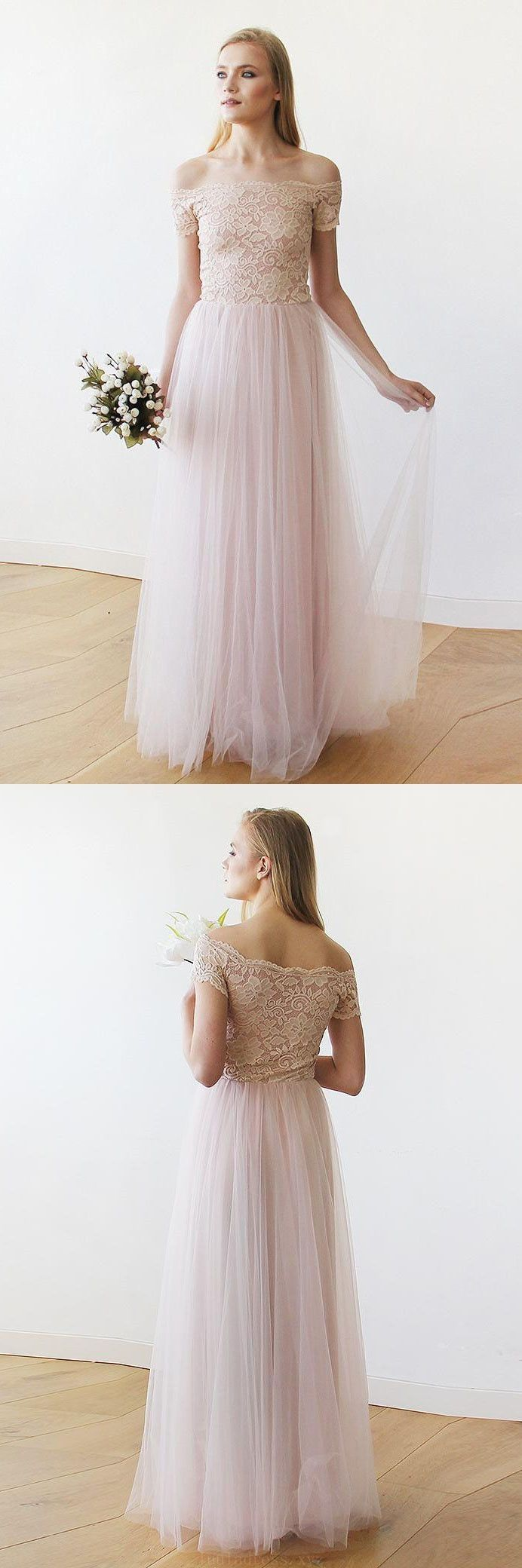 Pink lace wedding dress  Discount Delightful Pink Wedding Dresses Off The SHoulder Pink Lace