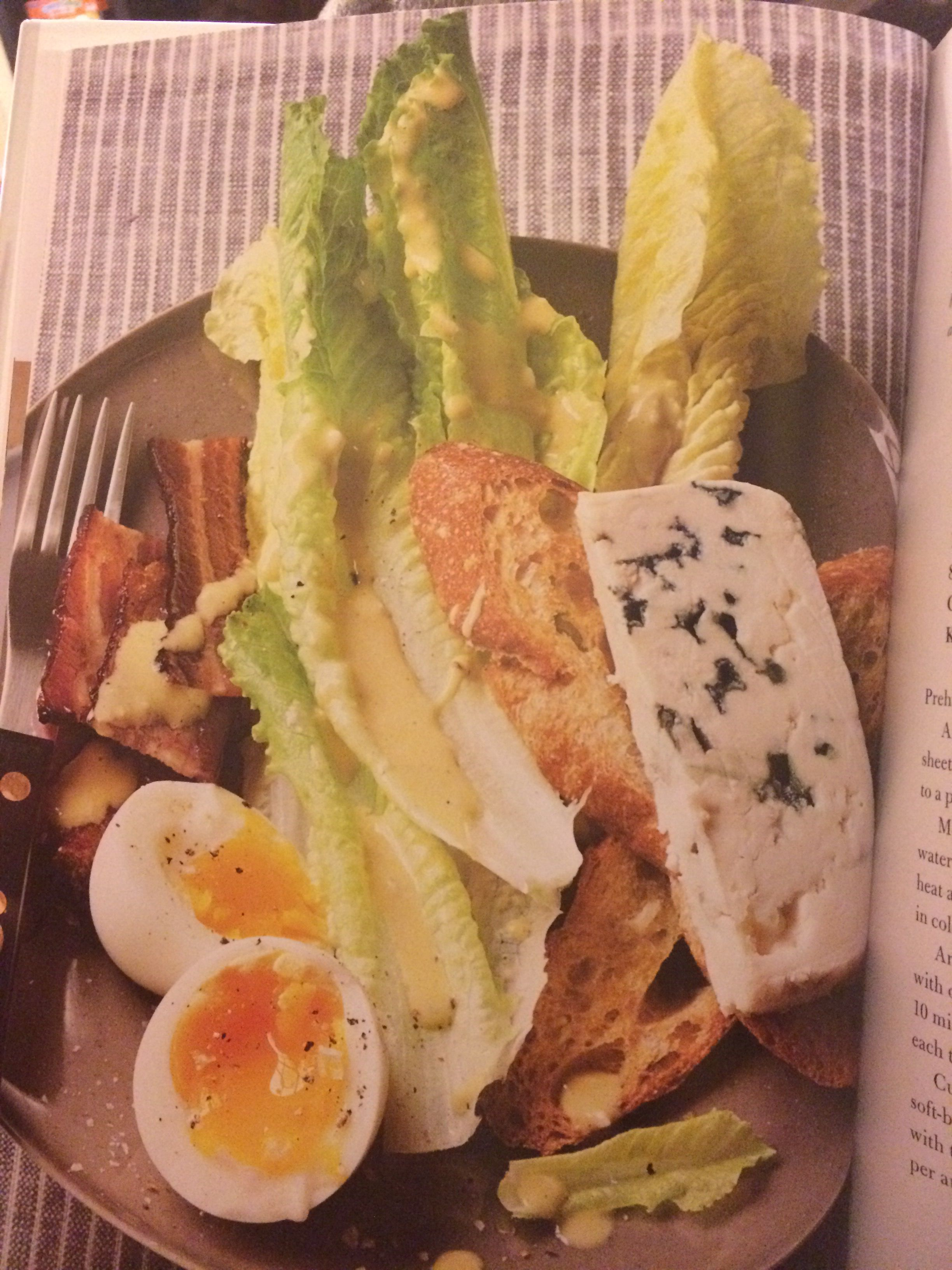 ina garten ceasar salad set-up. blue cheese slice, soft boiled egg