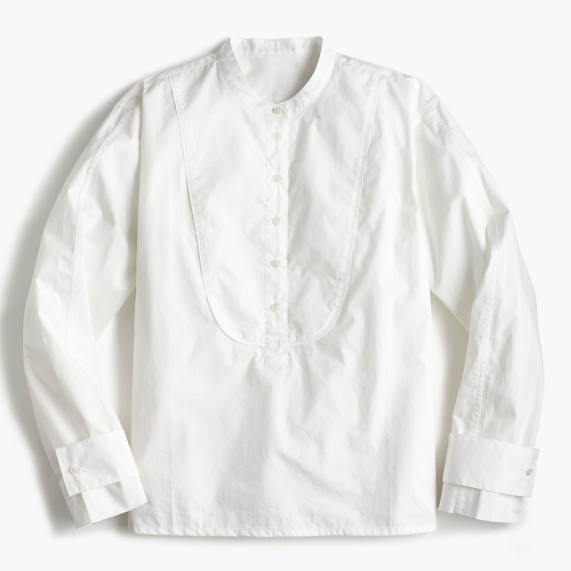 3d2a93b154 Shop the Petite tuxedo popover in stretch cotton poplin at J.Crew ...