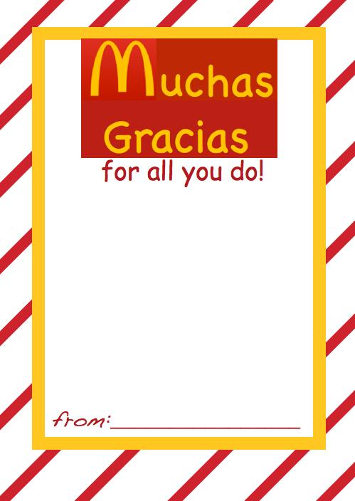 Gift Card Holder Mcdonalds For Spanish Teacher Aides Etc