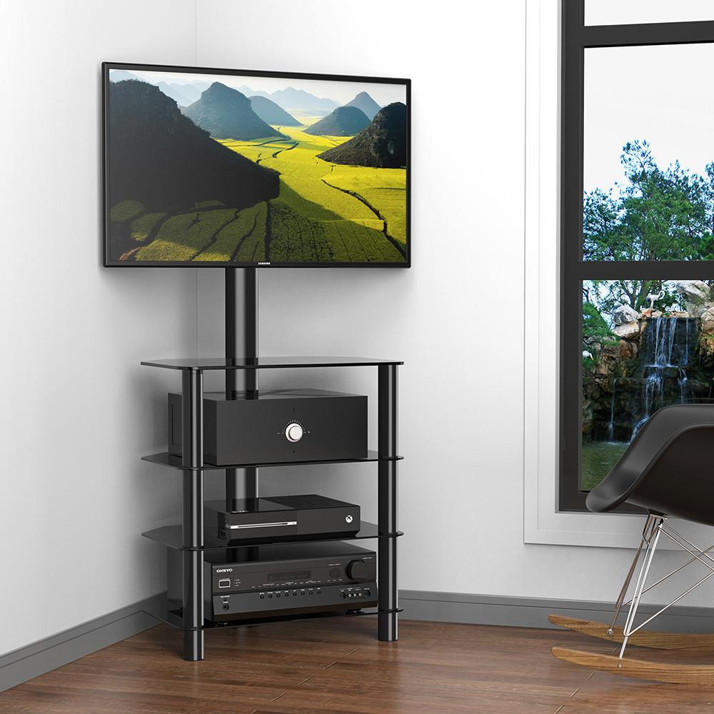 4 Tiers Corner Tv Stand Monitor Stand Base For 32 To 55 Inches