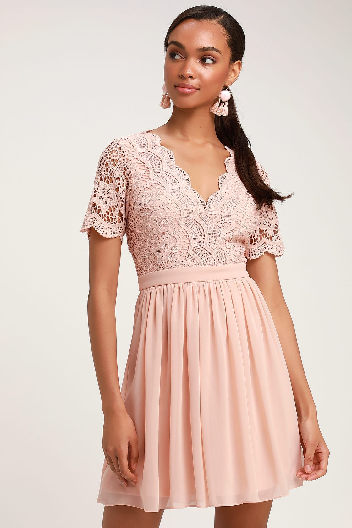 Angel In Disguise Blush Lace Skater Dress In 2019 Mint