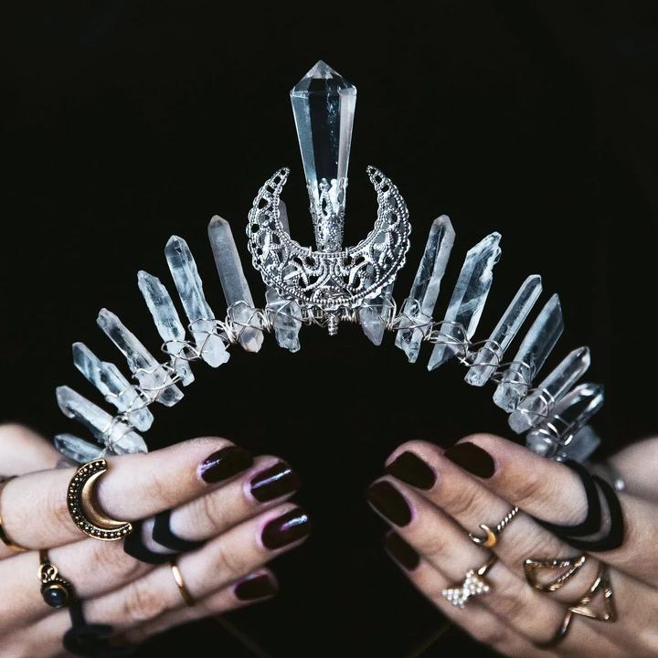 Crystal crown Clear Quartz Amethyst Moon phase moon crescent wicca fairy crown woman/'s headband gemstone headband christmas gift ideas boho