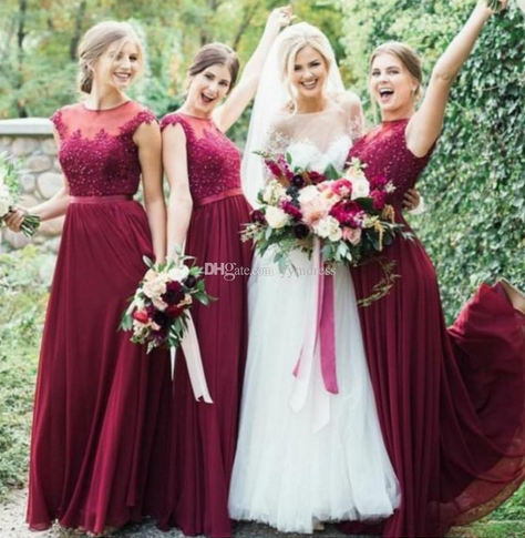 e3a0ef0059a Burgundy Bridesmaid Dress 2019 Sexy Maid Of The Bride Evening Gowns Formal  Occasion Wear Plus Size Sheer Neck Lace Top Beads Cap Sleeve