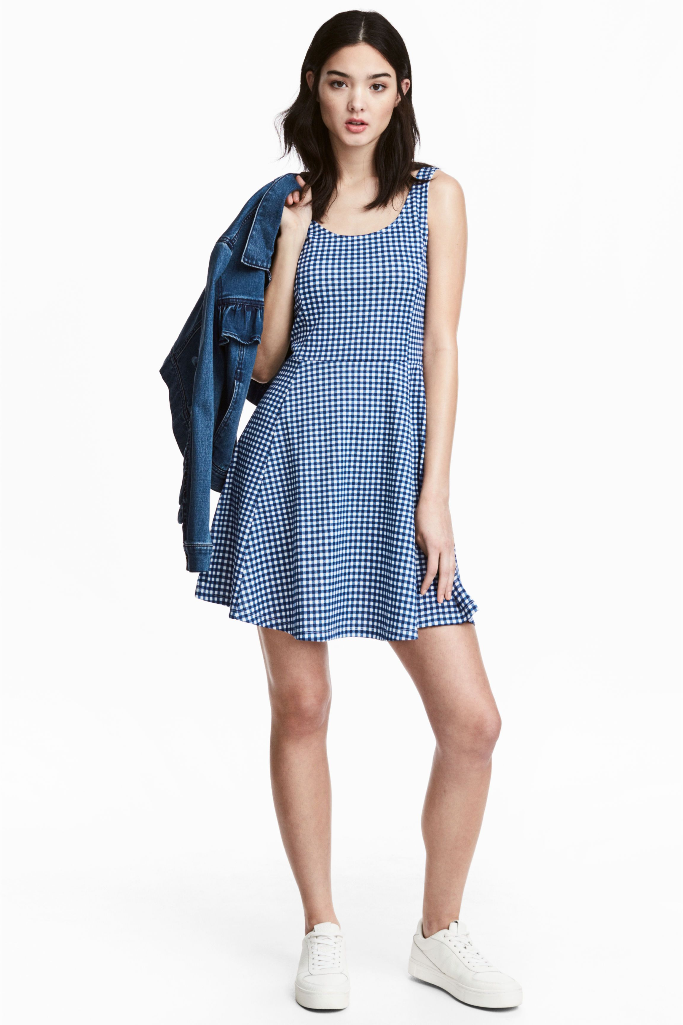 0e57aec93cc945 Tricot jurk - Blauw geruit - DAMES