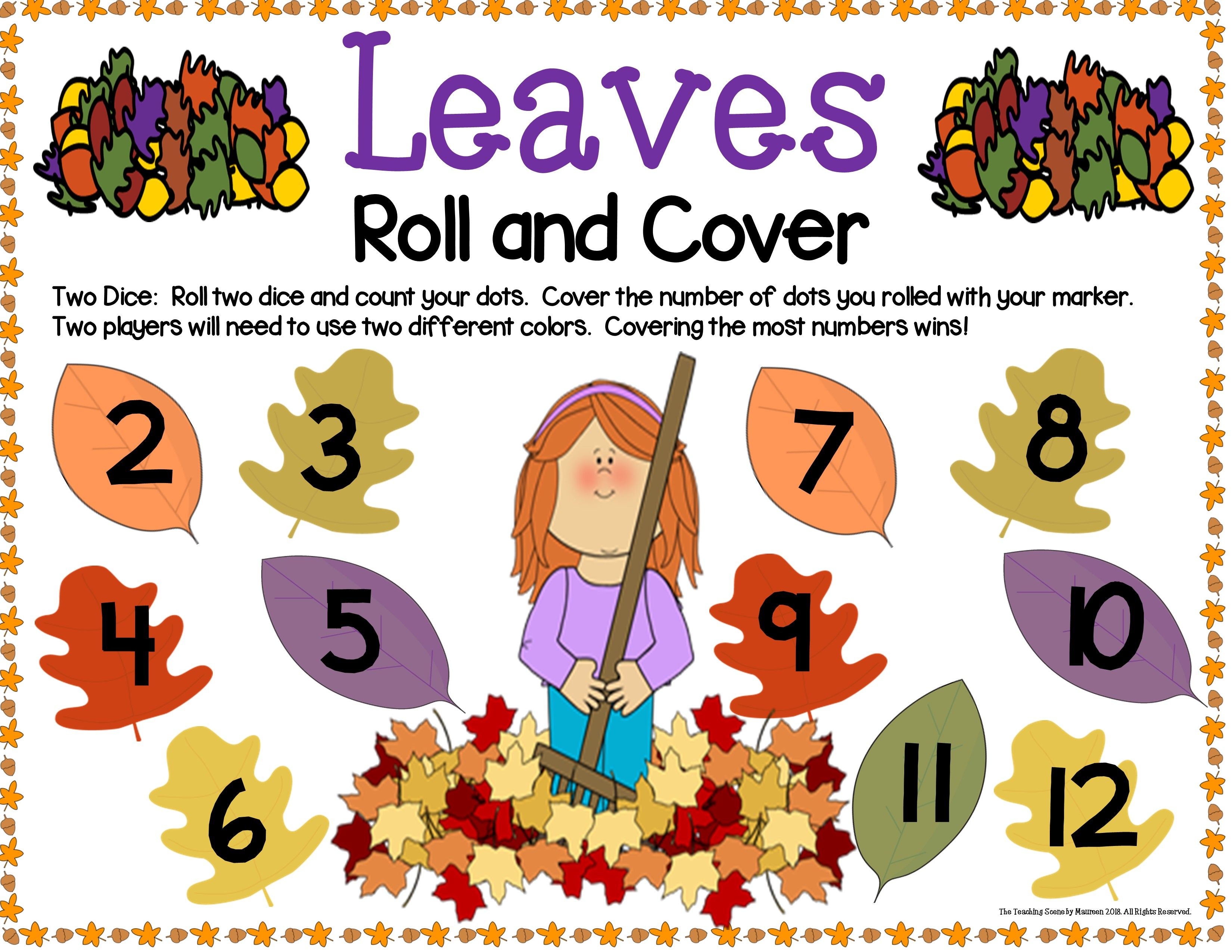 Fall Leaves Math Center Dice Games Math centers