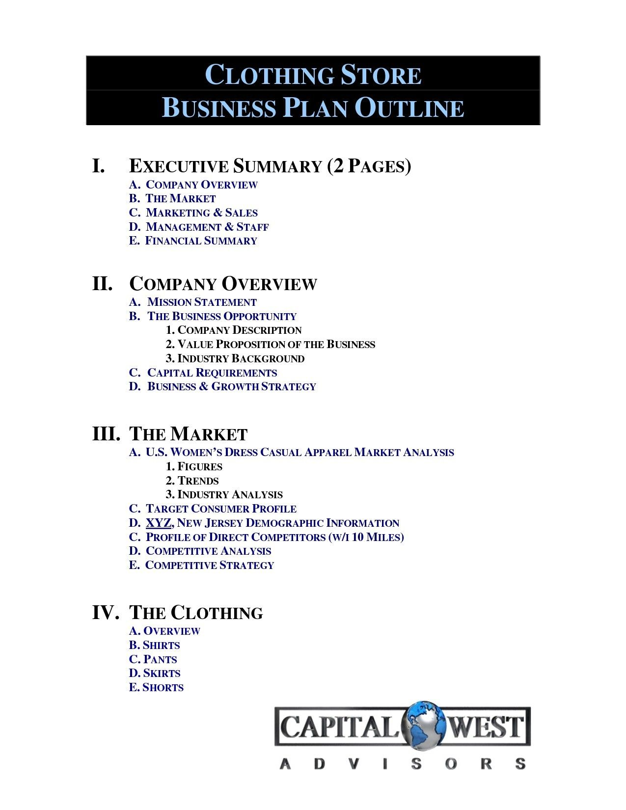 New Clothing Line Business Plan Template Business Plan Template
