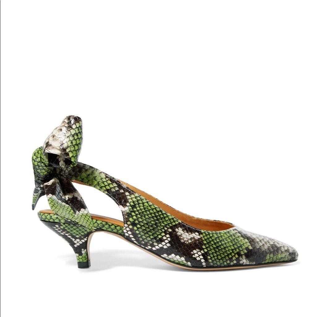 Ganni Sabine Kitten Heels In Green Snake Print Snake Print Me Too Shoes Green Snake
