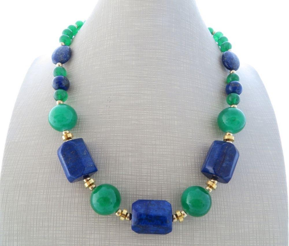 Eccezionale Collana con lapislazzuli blu e giada verde smeraldo, girocollo  HJ97