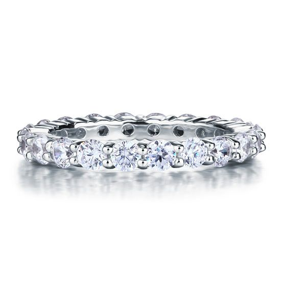Sterling Silver Diamonique Eternity Ring Band
