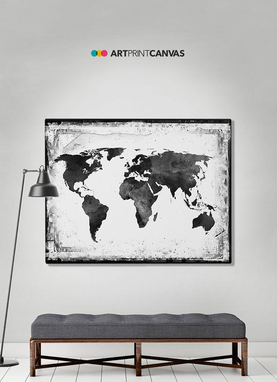 Check out this item in my etsy shop httpsetsylisting world map canvas art print travel map large by artprintcanvas gumiabroncs Choice Image