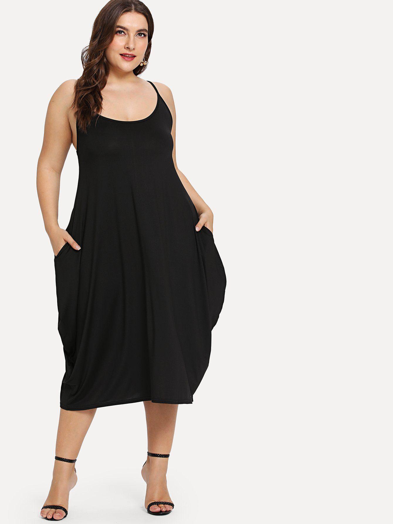 bac442c570 Hidden Pocket Solid Cami Dress -SheIn(Sheinside)   plus size clothes ...
