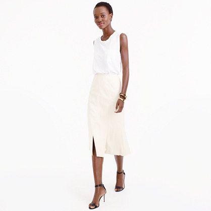 "Our designers selected refined Japanese denim before draping this skirt entirely in-house. The result? A car-wash-like silhouette featuring overlapping panels of fabric for beautiful movement near the hem (that's not too revealing). <ul><li>Sits at waist.</li><li>28"" long.</li><li>Falls below knee.</li><li>Cotton.</li><li>Back zip.</li><li>Lined.</li><li>Machine wash.</li><li>Import.</li><li>Select stores.</li></ul>"