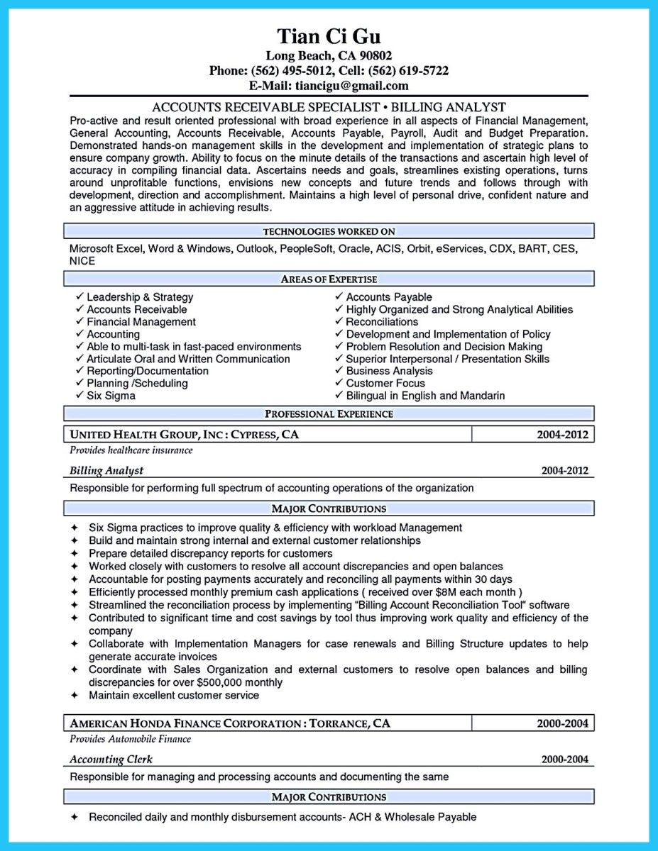 Cool Awesome Account Receivable Resume To Get Employer Impressed
