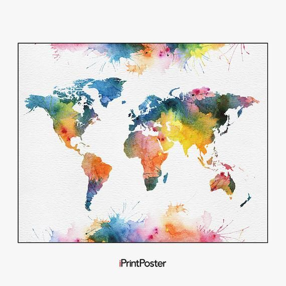World Map Watercolor Poster Colorful World Map Art Print