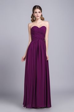 ba247211d15 Affordable Bridesmaid Dresses Prom Dresses A-Line Sweetheart Floor-Length  Chiffon Grape