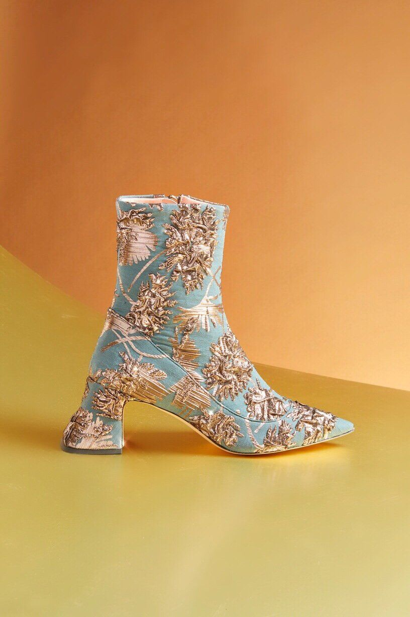 d3c7db5922eae Brocade Ankle Bootie by Rochas Fall Winter 2018 | shoes | Boots ...