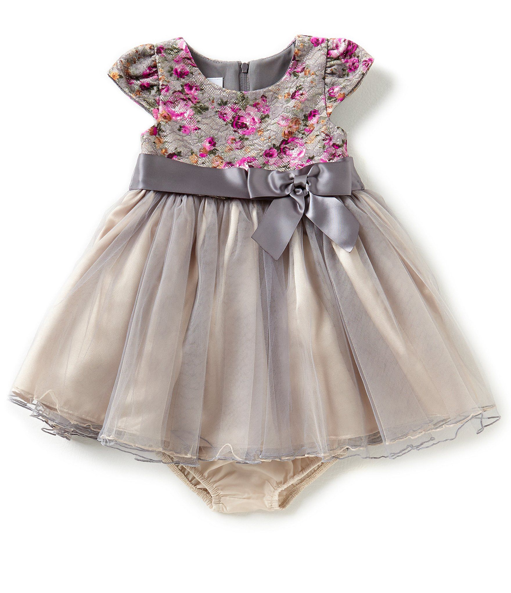 Bonnie Jean Baby Girls Newborn24 Months Floral Lace and Tulle ALine