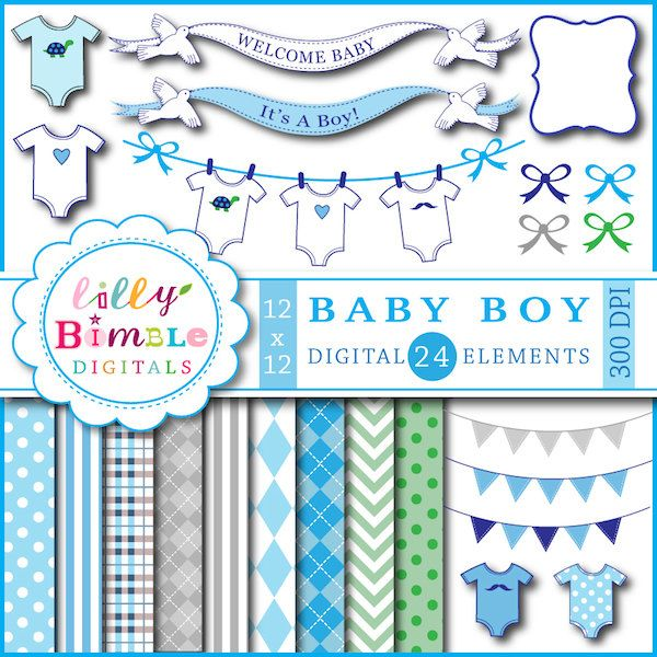 40 Off Baby Boy Clipart Digital Papers For Shower Invitation Clothespin Line Onesies Banner Blue Bunting I Digital Paper Scrapbook Supplies Baby Shower Banner