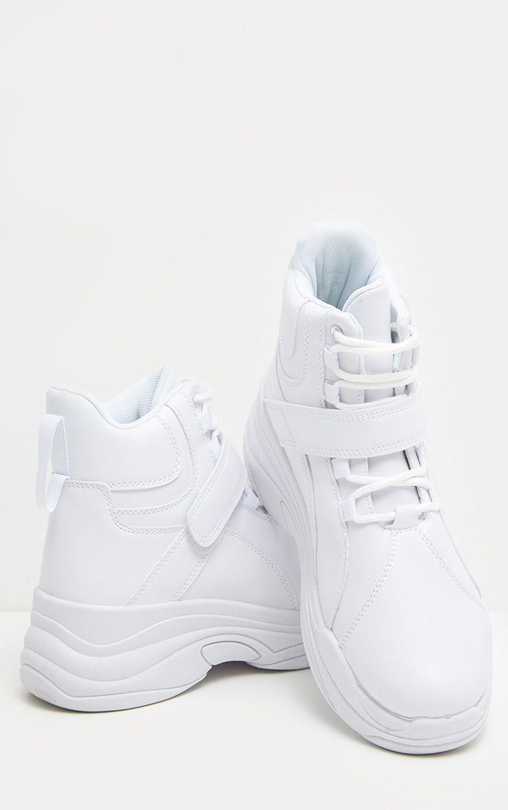 White Chunky High Top Sneakers | White