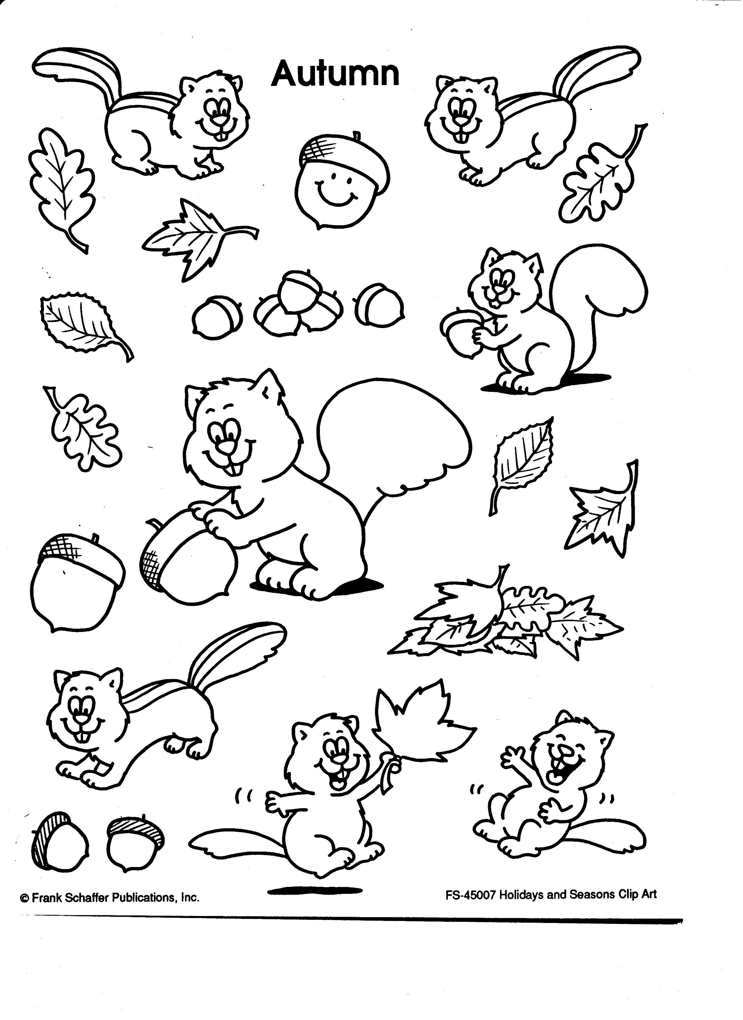 Autumn Clip Art Squirrels Leaves Nuts