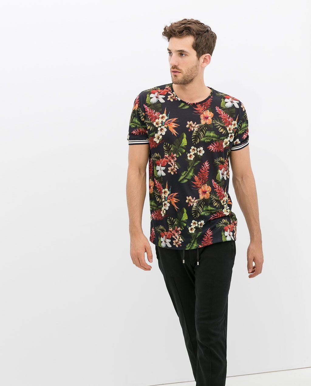 Camiseta Zara Estampada Hombre Zara Hombre Flores Camiseta Estampada SpULzVjqMG