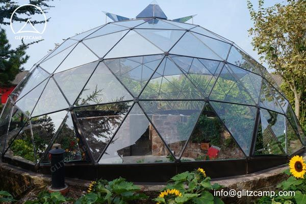 Glass Dome Tent with Dormer - Backyard / Greenhouse / Glass Panel Geodome & Glass Dome Green House For Growing Plant - Glitzcamp Glamping Tent ...