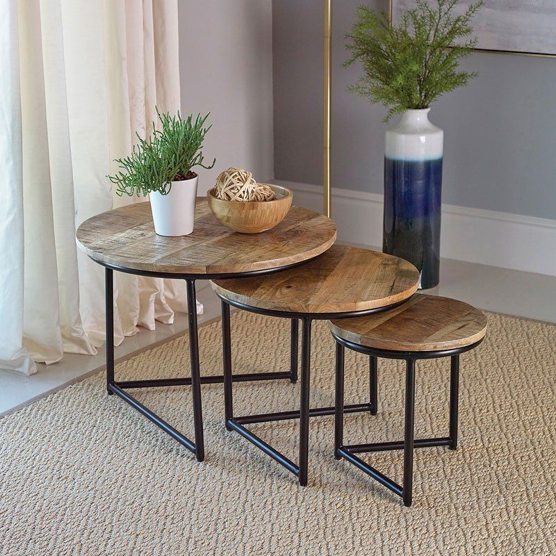 Nesting Table 3 Piece Set Modern Round Accent Side Coffee Table Small End Table Stand Natural Brown Walmart Com In 2020 Coffee Table For Small Living Room Living Room End Tables Coffee Table 3 piece nesting tables