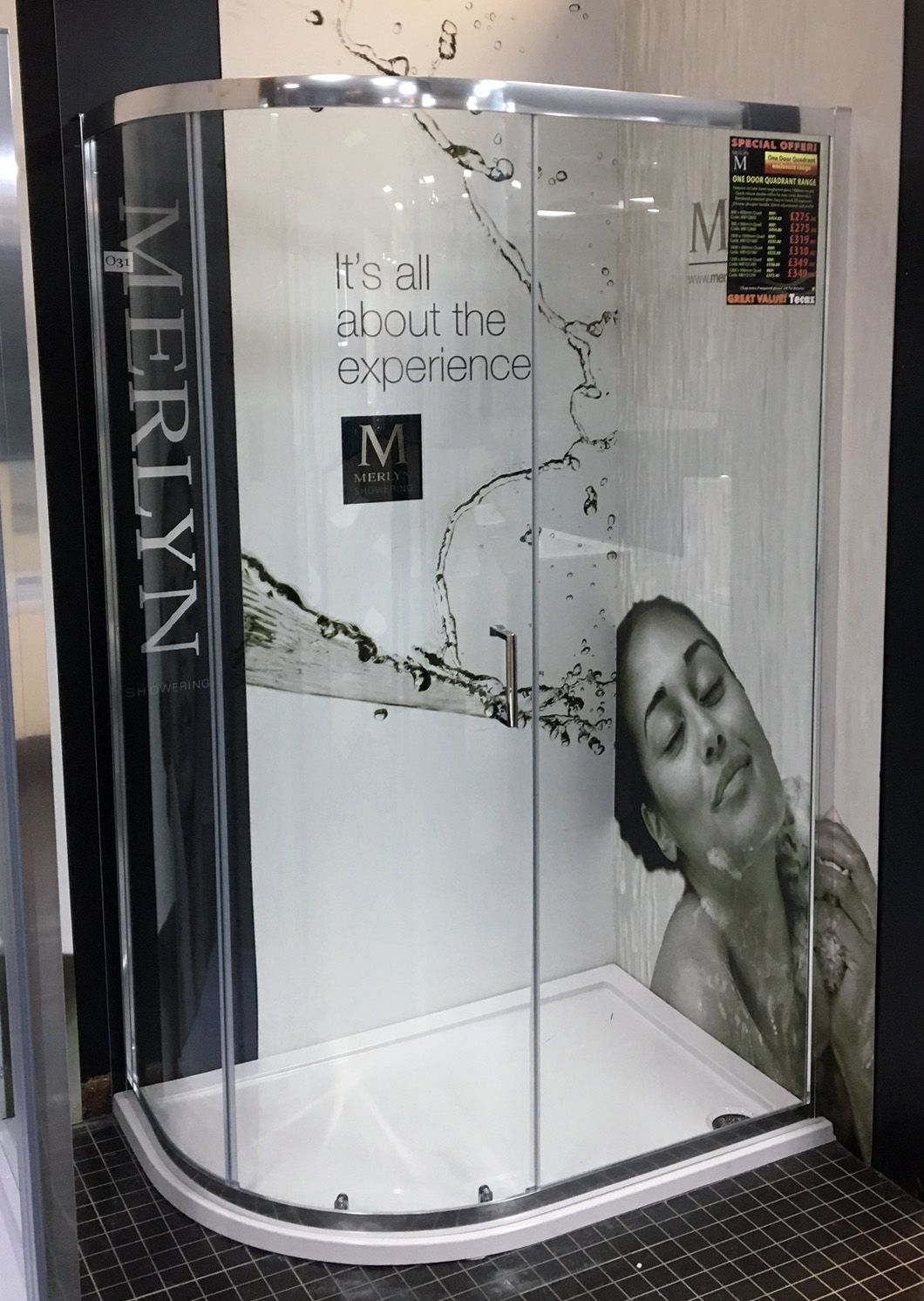 Our new Merlyn Mbox displays look great - for high quality showers ...