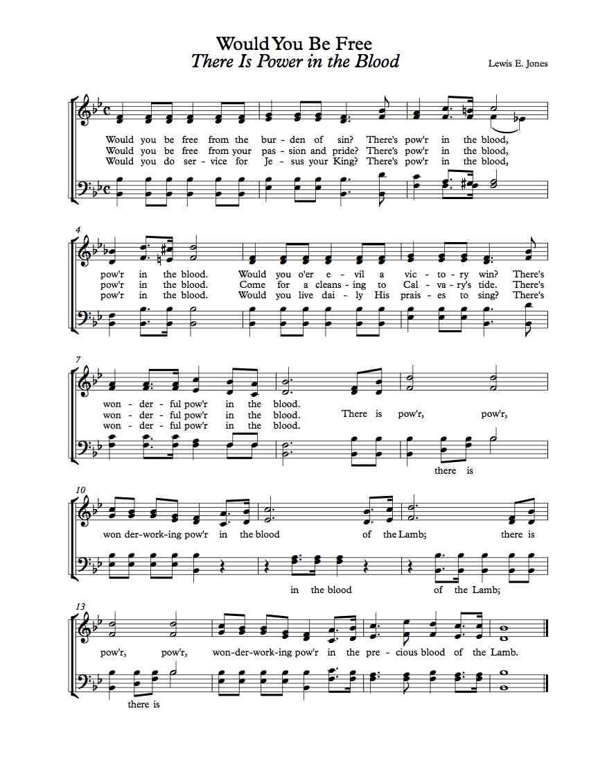 Free choir sheet music there is power in the blood music free choir sheet music there is power in the blood hexwebz Images