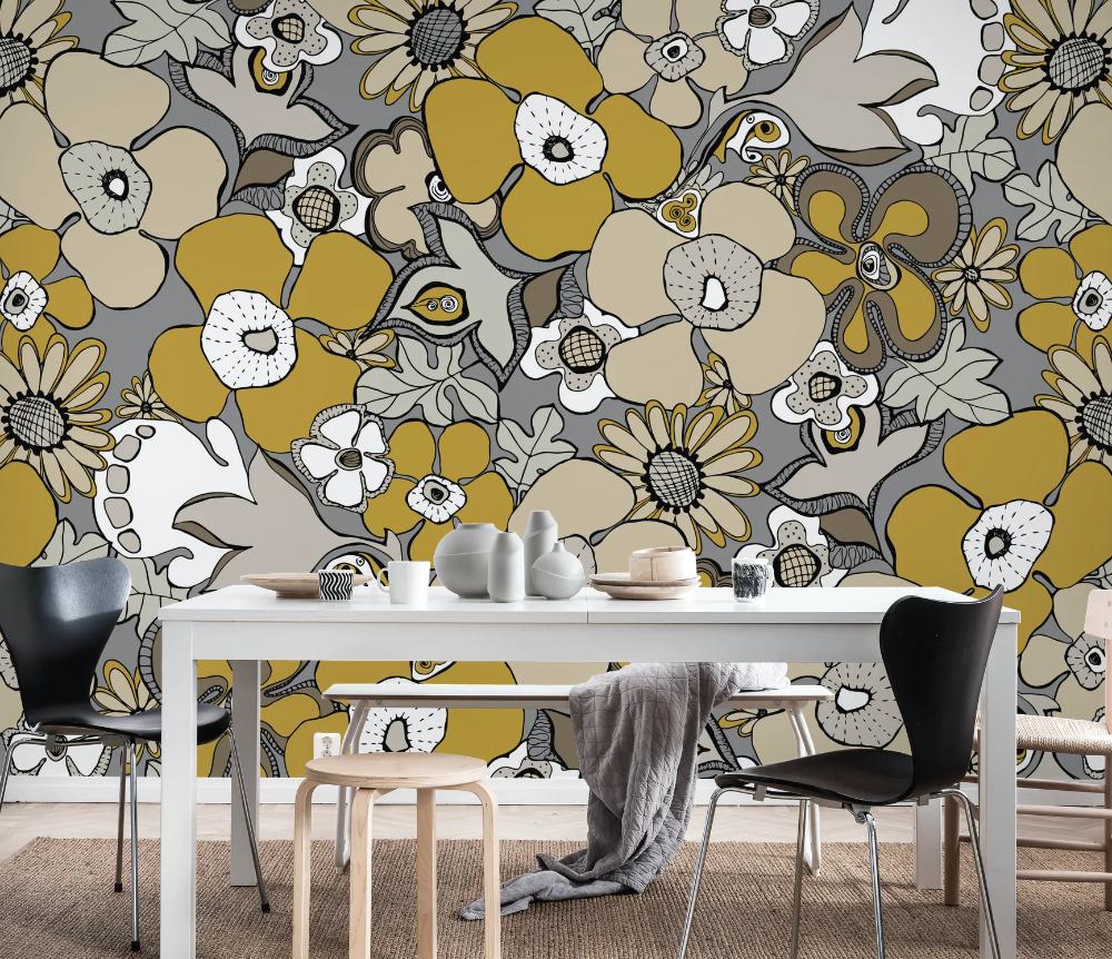 Buy Floral Doodles Grey Mustard Wall Mural Free Us Shippin