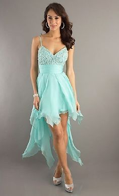 Spaghetti Straps Sleeveless ACGowns Aquamarine Chiffon A-line Lace Up DJ-7502 High-low Prom Dress With Beading HL8806
