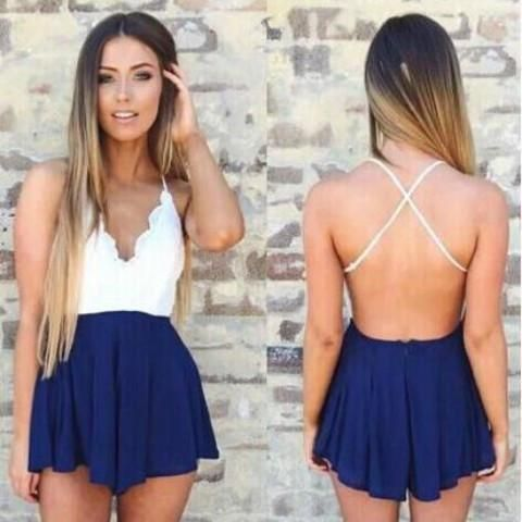 1ef3a3cd0aab The White Lace and Navy Blue Romper. Feel that cool breeze against your skin