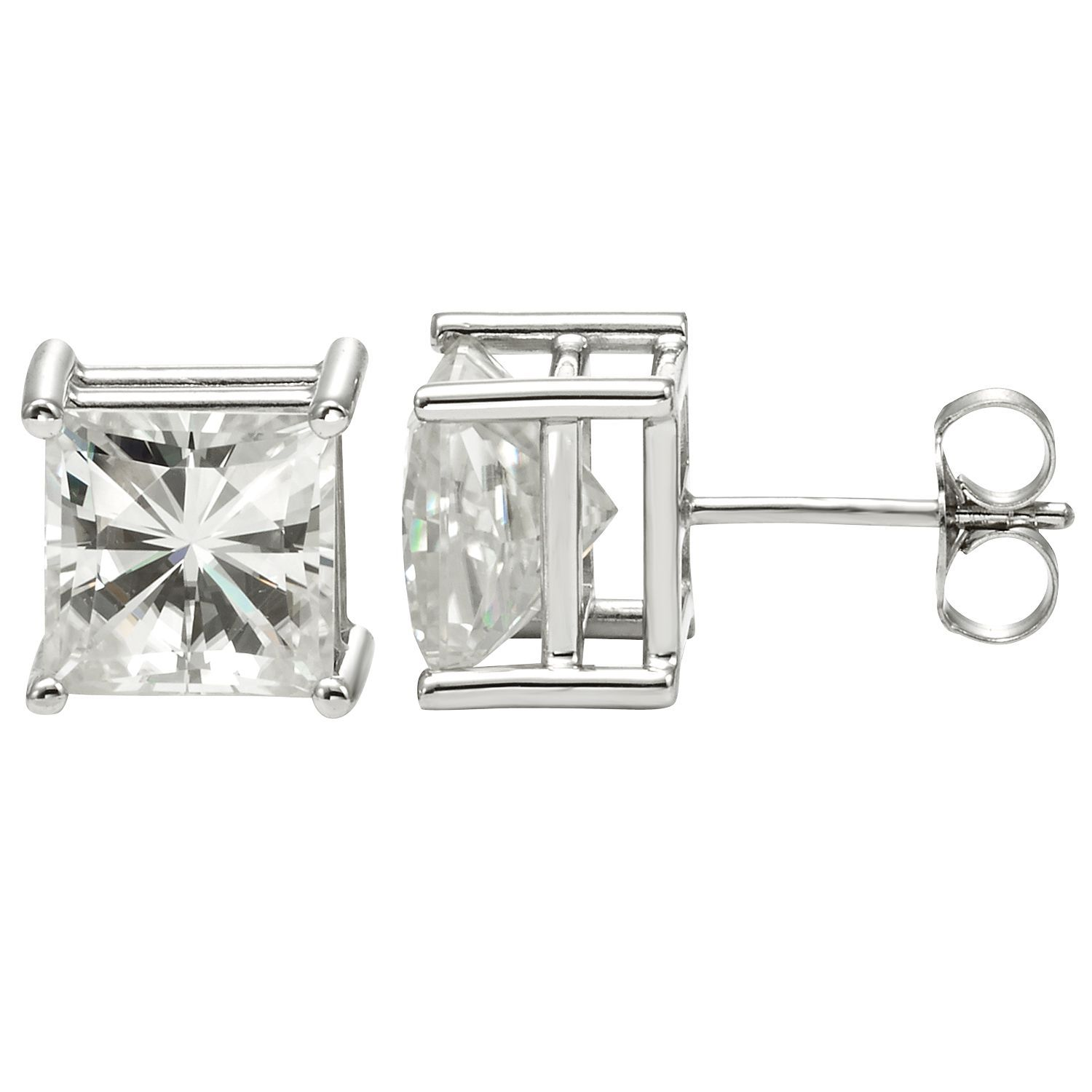 moissanite prong four round forever ip earrings brilliant stud cut