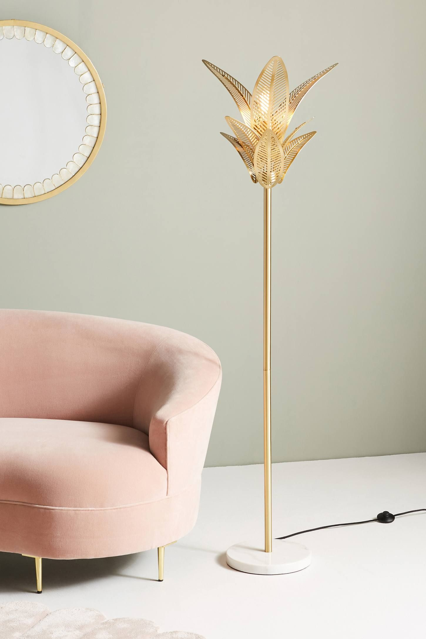Palm Frond Floor Lamp Unique Floor Lamps Gold Floor Lamp Mid Century Floor Lamps